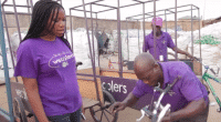 Bilikiss Adebiyi-Abiola, manager of the Wecyclers, with her staff.