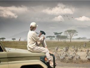 A tourist on safari in the Serengeti in Tanzania © soft_light / Shutterstock
